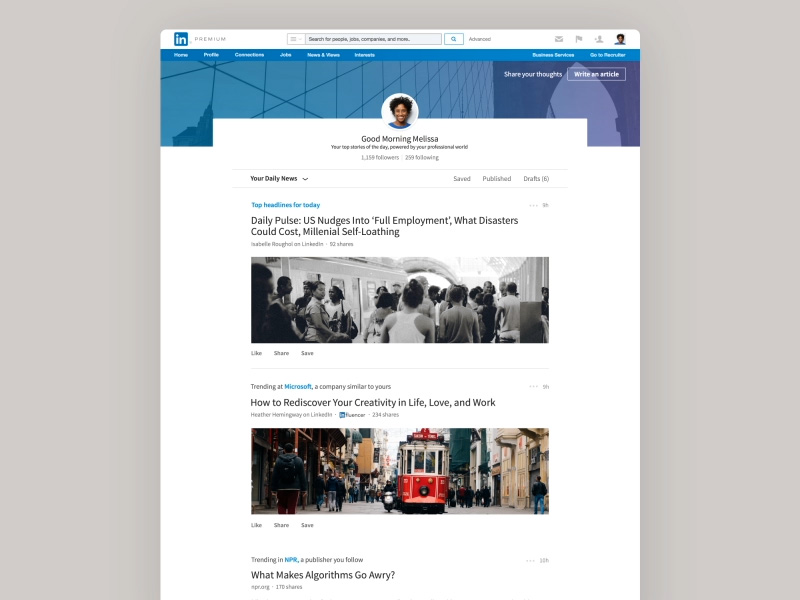 Article Feed Transition